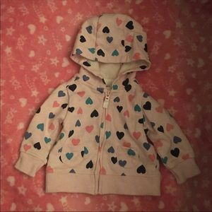 Baby Girl Pink Heart Hooded Sweater Size 3 Months